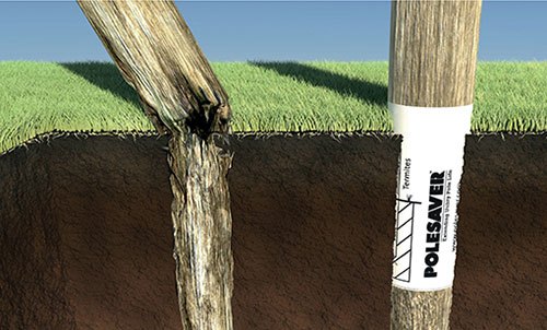 Pole saver prevents rot in wooden poles